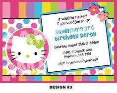 hello kitty birthday invitation bunting flags and balloons