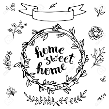 home sweet home handmade calligraphy vector illustration for