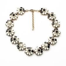 black necklace pendants images Elegant black and white simulated gemstone flower choker statement jpg