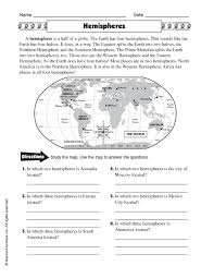 image result for hemisphere worksheets 6th grade geography for