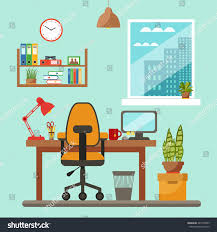 vector colorful office desk indoor plants stock vector 443198905