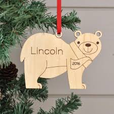 bear ornament handcrafted wooden personalized christmas ornament