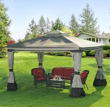 Outdoor Patio Canopy Gazebo by 12 U0027 X 10 U0027 Steel Canopy Gazebo Outdoor Backyard Lawn Deck Sawyer