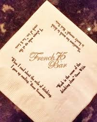French 75 Bar Napkin Quotes Picture of Arnaud s Restaurant