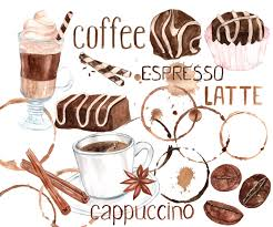 watercolor coffee clipart sweets clipart coffee