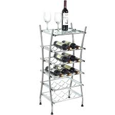 modern freestanding wine rack 15 bottle holder stand with glass