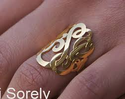 gold monogram rings personalized monogram necklaces rings by ketisorelydesigns on etsy