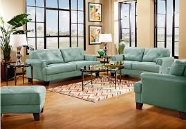 Rooms To Go Living Room Set Cindy Crawford Home Eden Place Seafoam Leather 3 Pc Living Room