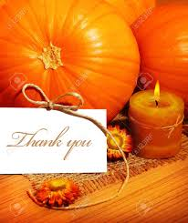 thank you thanksgiving greeting card with pumpkin decorations