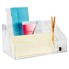 Clear Acrylic Desk Table Acrylic Desktop Mail Center The Container Store