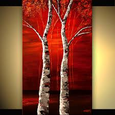 painting textured painting birch trees 6987