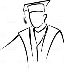 outline of a graduate with graduation cap and gown stock vector