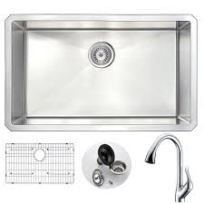 kitchen sink and faucet sets anzzi vanguard undermount stainless steel 30 in single bowl