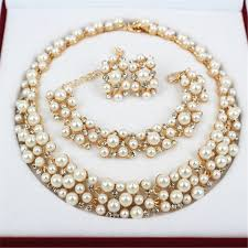 new gold set 2016 new fashion imitation pearl 18k dubai gold necklace