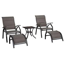 Patio Table Chairs by Malibu 5 Piece Adjustable Sling Chair And Table Set At Home At