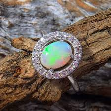 crystal opal rings images Silver solid opal ring black star opal jpg