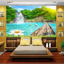 wallpaper livingroom custom mural photo 3d wallpaper livingroom waterfall plank bridge