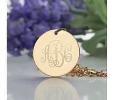 Engraved Monogram Necklace Solid White Gold Disc Engraved Monogram Necklace Swd9 Name