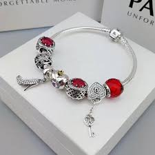 pandora jewelry silver bracelet images Pandora charm bracelet with red theme charms high heel key pendant JPG