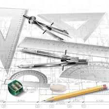 architectural background with drawing tools and technical drawings
