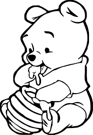 cute baby winnie the pooh eating hunny coloring page wecoloringpage
