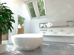modern bathroom interior with a white freestanding central oval