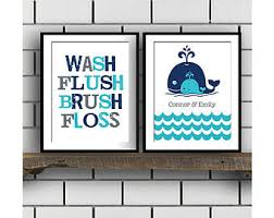 Navy And Green Bathroom Whale Bathroom Etsy