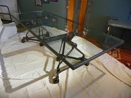 glass top dining table 1940 u0027s industrial base tim jones design