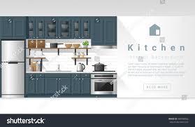 Kitchen Background Interior Design Modern Kitchen Background Vector Stock Vector