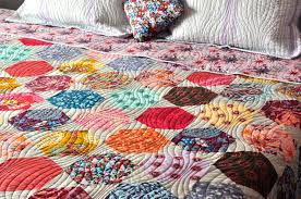 Anna Maria Horner Home Decor Fabric Modern Patchwork Hexagon Custom Quilt Coverlet Bed Spread Anna