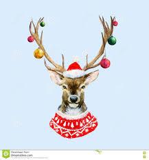 christmas deer watercolor christmas deer stock vector illustration of symbol