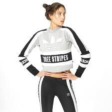 adidas crop top sweater adidas originals sweater three stripes medium grey black