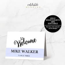 editable place card template 3 5x2 5 instant download printable