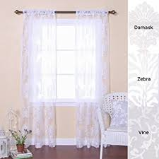 Damask Kitchen Curtains Amazon Com Best Home Fashion Damask Burnout Sheer Curtains Rod
