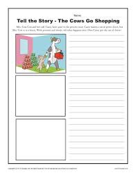 the cows go shopping kindergarten writing prompt worksheet