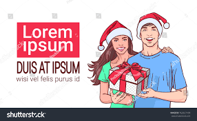 couple wearing santa hats hold gift stock vector 762627109