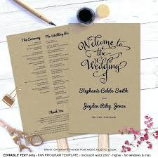 wedding programs rustic template template for wedding programs