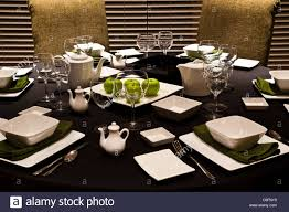 a casual table setting for lunch with an apple theme stock photo