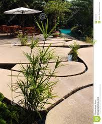 unique patio design stone slabs over water stock photo image