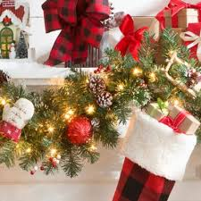 Banister Christmas Garland 9 U0027 Pre Lit Merry U0026 Bright Christmas Garland Improvements Catalog
