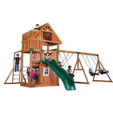 Backyard Playground Slides by Amazon Com Backyard Discovery Wanderer All Cedar Wood Playset