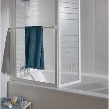 pare vent verre pare baignoire 2 volets verre de sécurité 3 mm sérigraphié lm 104
