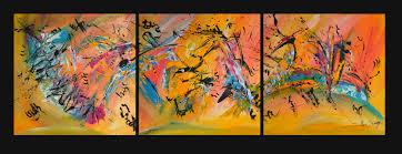 Tableau Triptyque Contemporain by Triptyque Tableau Abstrait En 3 Parties Multicolore
