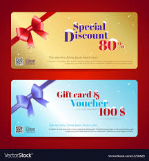 gift cards at a discount discount gift card and voucher template vector image
