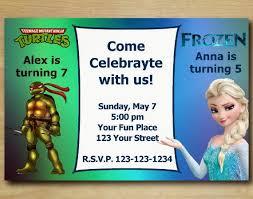 custom birthday party invitations teenage mutant ninja turtles