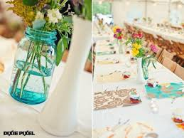 Milk Vases For Centerpieces by Wedding Centerpiece Idea Using Teal Mason Jars And Milk Glass