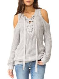 cold shoulder sweaters sweaters cardigans light gray one size lace up cold shoulder