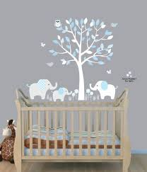 Wall Bedroom Stickers Nursery Wall Decal With Tree Elephant And Birdies Wall Decals