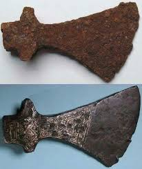 Axe Meme - put me like a 1000 year old viking axe before and after restoration