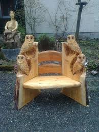 wonderful diy wood carving owl bench owl and wood carving